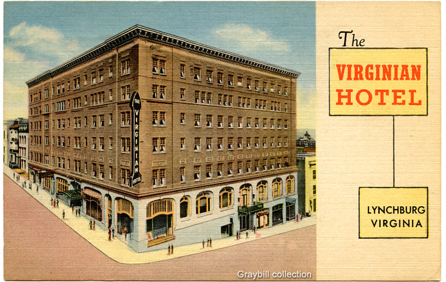 lynchburg virginia post card the virginian hotel 1953. Black Bedroom Furniture Sets. Home Design Ideas