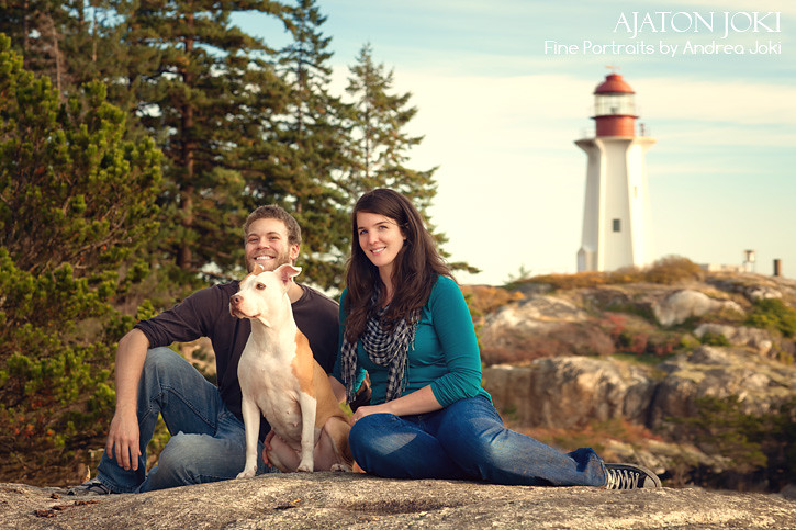 dog, lighthouse, couple, vancouver, canada, bc, pacific coast, family