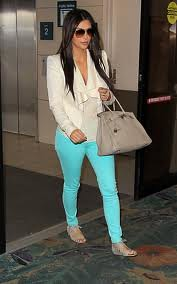 Kim Kardashian Mint Jeans Celebrity Style Women's Fashion
