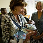 Neelie Kroes, Vice President of the European Union and Commissioner for the Digital Agenda visits the AMREF clinic in Kibrea and their digital health technologies.