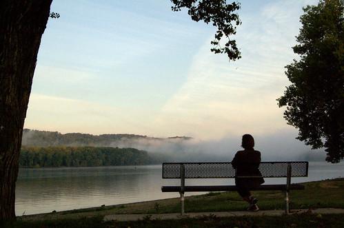 morning summer mist water wisconsin sunrise niceshot mississippiriver parkbench prairieduchien flickraward doublyniceshot doubleniceshot