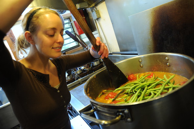 The cook's smile, cooking vegetarian green bean soup, big ...