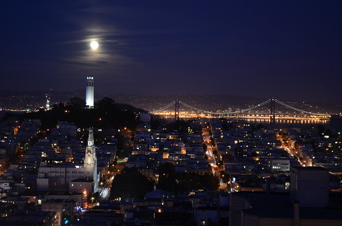 Coit Tower and (almost) full moon