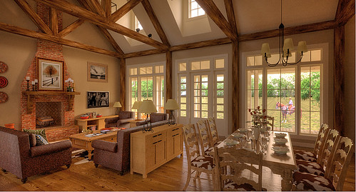 Country style sitting and dining area