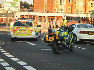 North Wales Police road policing unit BMW 5 Series 530D Estate CX57 AEC and Yamaha YZF-R6 Roads Policeing Unit CX57 AKY