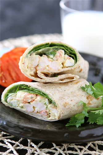 Healthy Shrimp Sandwich Wrap with Curry Yogurt & Spinach Recipe