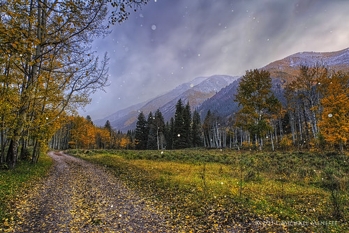 road autumn winter snow storm mountains fall nature season landscape vanishingpoint nikon colorado seasons snowy alpine co change aspen hdr snowmass twotrack clff strobist d700 nikonafs24120mmf4gedvr snowmasscreekranch