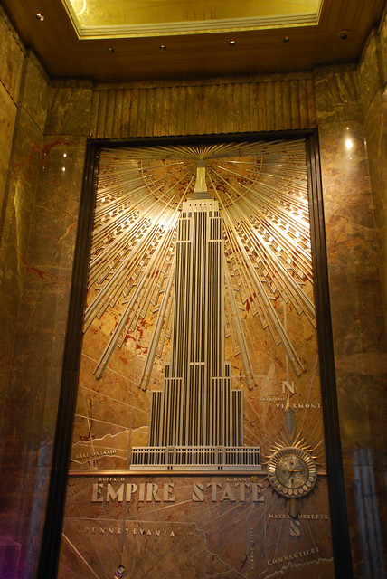 Nyc empire state building lobby mural flickr photo for Empire state building mural