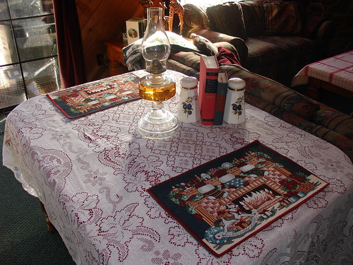 Family room table dressed for Christmas