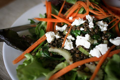 Puy lentil and goats cheese salad