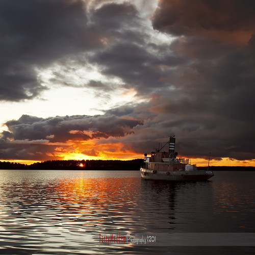 sunset sky lake clouds reflections suomi finland tugboat powerful saimaa