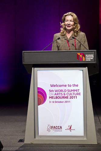 Kathy Keele at the closing of the 5th World Summit on Arts and Culture
