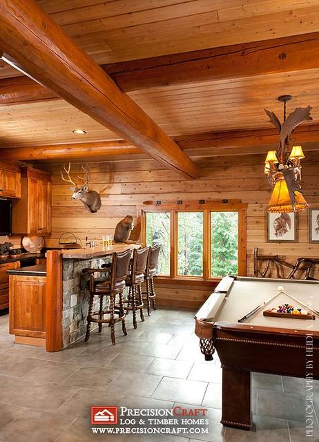 Log Home Game Room With Bar Precisioncraft Log Homes