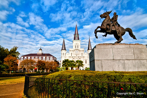 park morning church statue clouds fence square landscape nikon louisiana catholic cathedral cloudy neworleans bluesky frenchquarter andrewjackson jacksonsquare nola ida shum partlycloudy d300 catholiccathedral cathedralbasilicaofstlouis andrewjacksonstatue cathedralbasilicaofstlouiskingoffrance idashum idacshum
