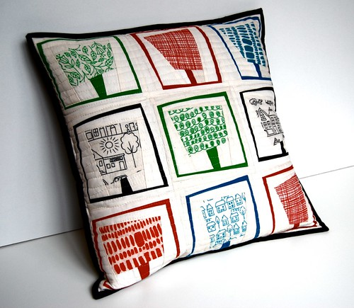 Summer Trees paper pieced pillow