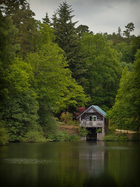 Boathouse in Winkworth Arboretum from the public right of way