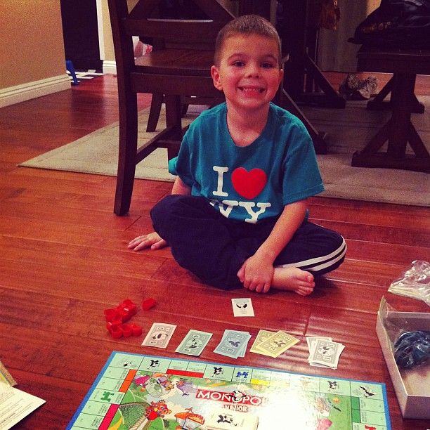 Project 365 323/365: Playing Monopoly Junior with my little gamer.