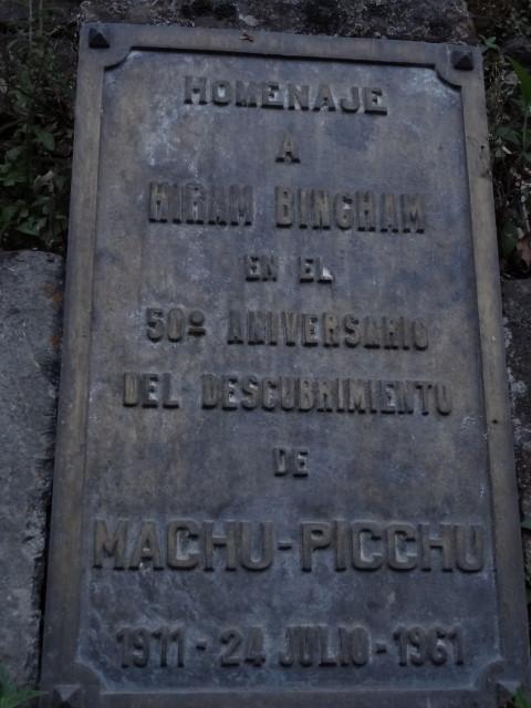 plaque Machu Picchu