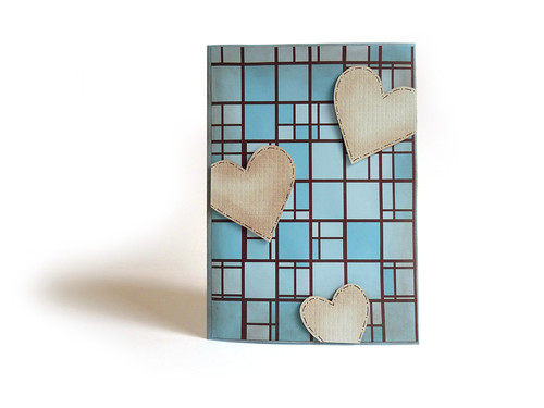 brown and blue heart papercraft heart card with distress effect