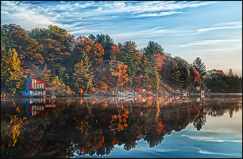 autumn light lake reflection fall water sunrise landscape nikon low nik nikkor muskoka 2470mmf28 colorefexpro d700 hdrefexpro