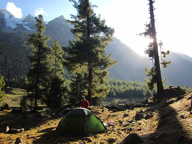 Wild camping in the Naltar Valley, Pakistan.
