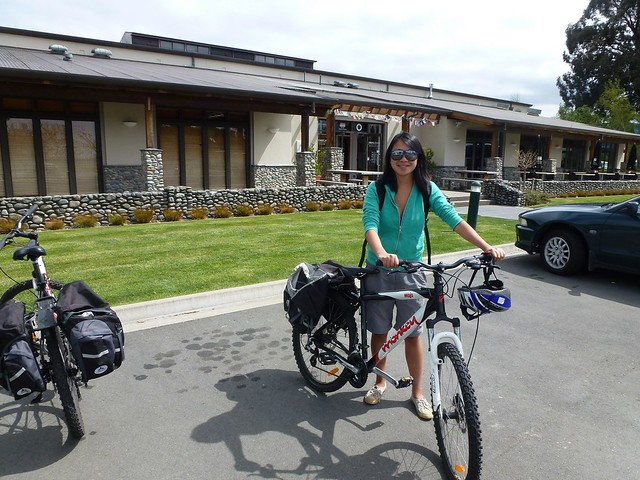Outside Drylands winery in Marlborough with our bikes