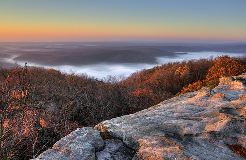 Fog in Little Cove and Grassy Cove, Black Mountain, Cumberland Co, TN