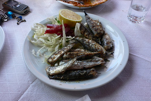 Grilled sardines - Zante harbour in Greece