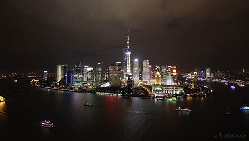 View of Pudong from the top terrace of a bar