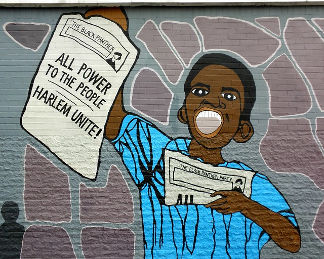 Black panther party graffiti mural east harlem new york for Black panther mural