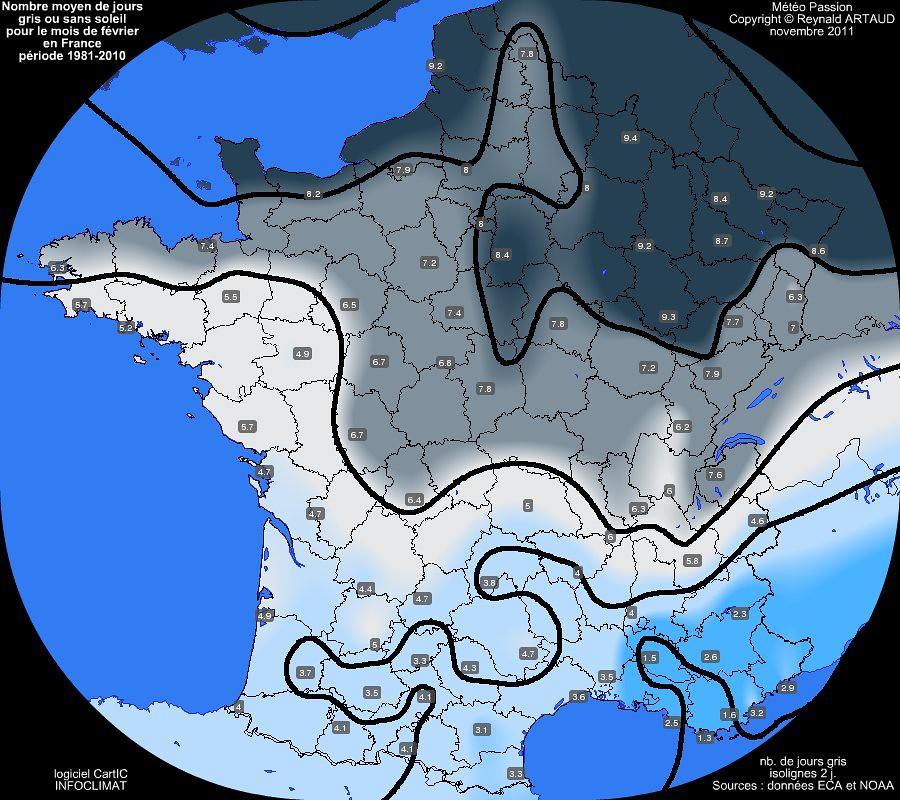 nombre moyen mensuel de jours gris ou sans soleil pour le mois de février en France sur la période 1981-2010