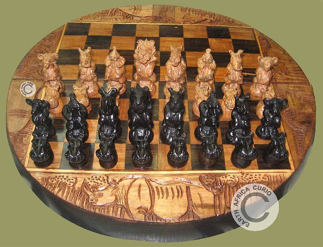 African Curios Chess Set Hand Carved African Chess Set