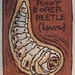 Prionus Californicus--Larva ACEO woodblock print