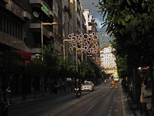 La calle Recogidas tras la lluvia