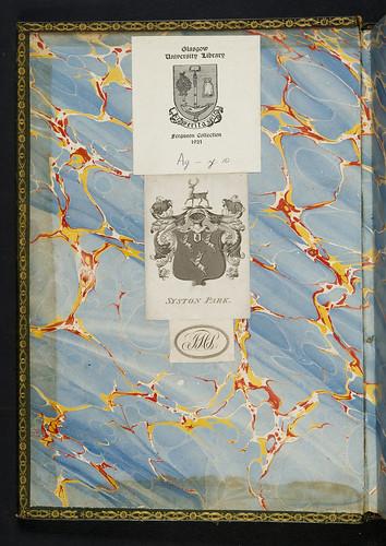 Syston Park bookplate in Bartholomaeus Anglicus: De proprietatibus rerum