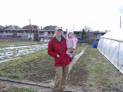 Founder Kirsten Reinford and daughter Havah at Joshua Farm, a unique one-acre operation in Harrisburg, Penn., that grows over 40 varieties of fresh produce for local families.