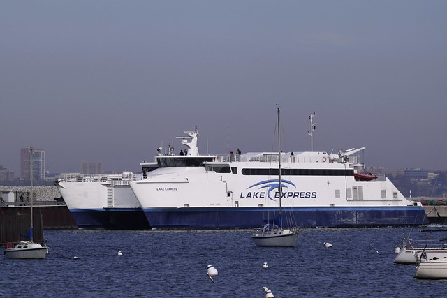 The Lake Express Ferry arrives in Bay View