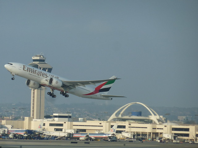 Emirates Airlines Boeing 777 jet seconds after take-off from LAX