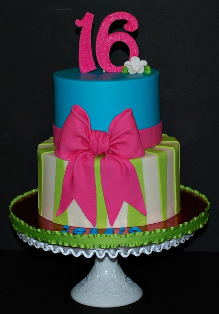 Bow & Stripe Sweet 16 Birthday Cake