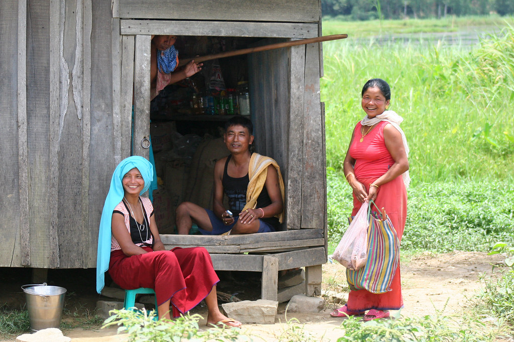 Happy people at Lake Loktak south of Imphal in Manipur, India.