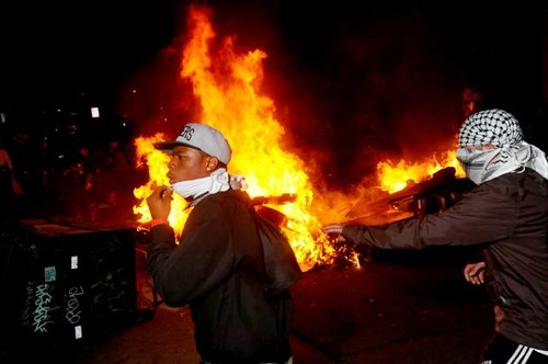 Youth demonstrate during the general strike that hit Oakland, California on November 2, 2011. The occupy movement has spread throughout the United States and the world. by Pan-African News Wire File Photos
