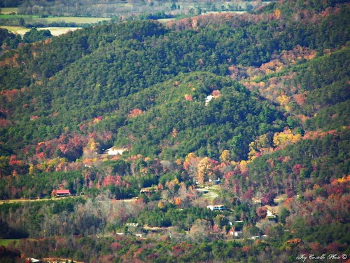 autumn trees houses mountains fall georgia fallcolor fortmountain overlooks murraycounty nov112011