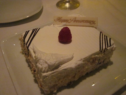 Cake served at Le Bistro for our anniversary