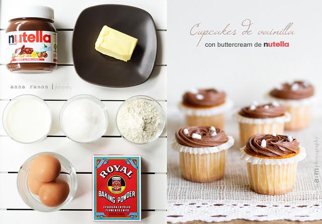 preparando cupcakes con nutella