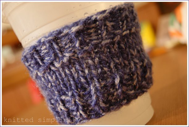 knitted reusable coffee sleeve