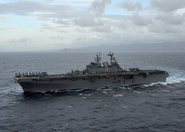 USS Makin Island (LHD 8) arrives off the coast of Oahu for a scheduled port visit in Hawaii
