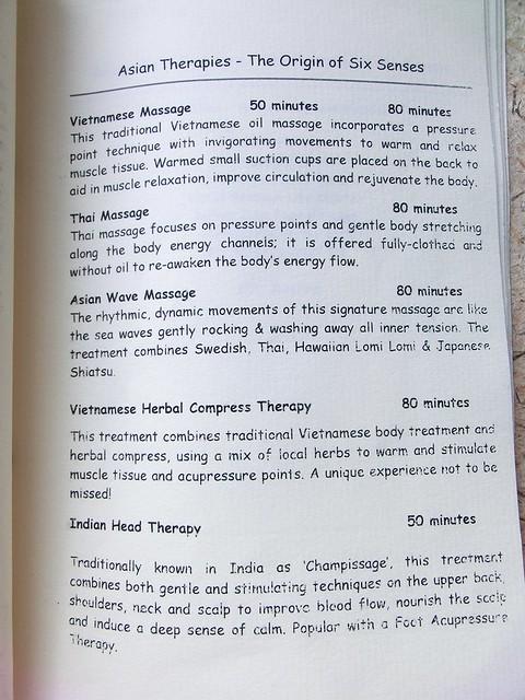 """Six Senses Spa """"treatment menu"""" 6"""