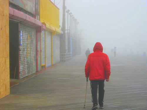 Fog on Coney Island boardwalk