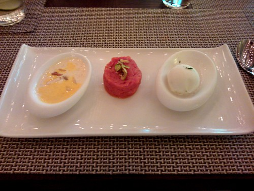 From left: rice kheer, gajjar ka halwa, lime and basil sorbet