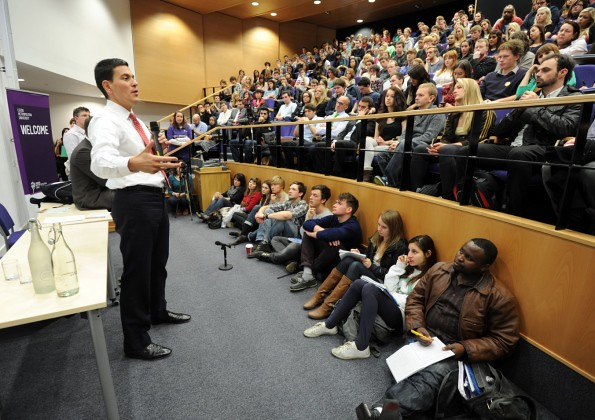 David at a Q&A in Leeds as part of his Universities tour